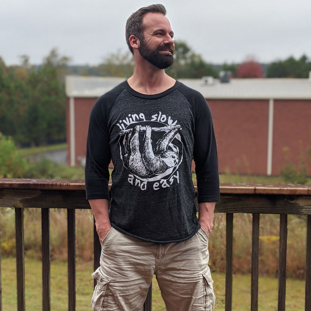 Living Slow and Easy - Sloth Baseball Tee - GreenHive Collective