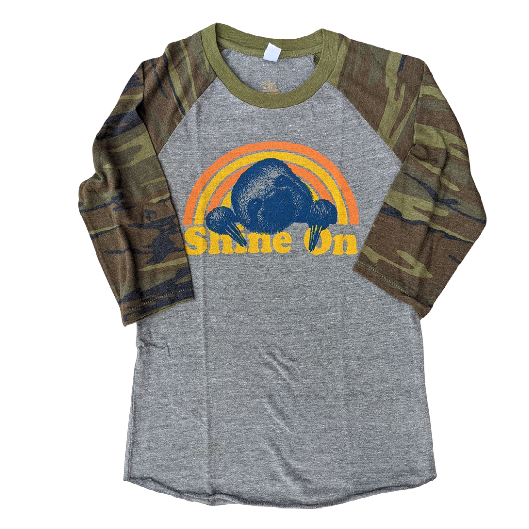 """Shine On"" - Sloth Baseball Tee - GreenHive Collective"