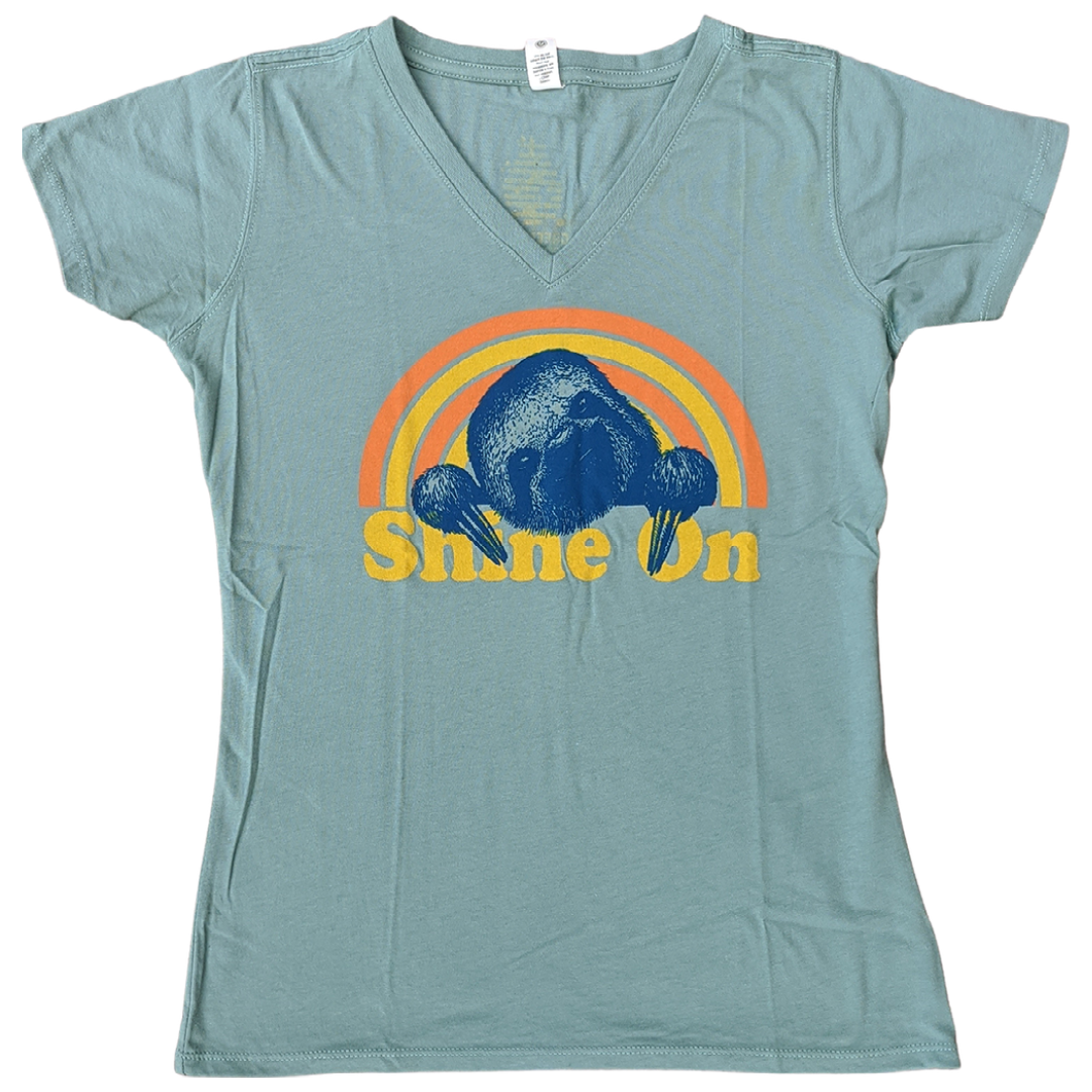 Shine On - Sloth - Women's V-Neck Tee - GreenHive Collective
