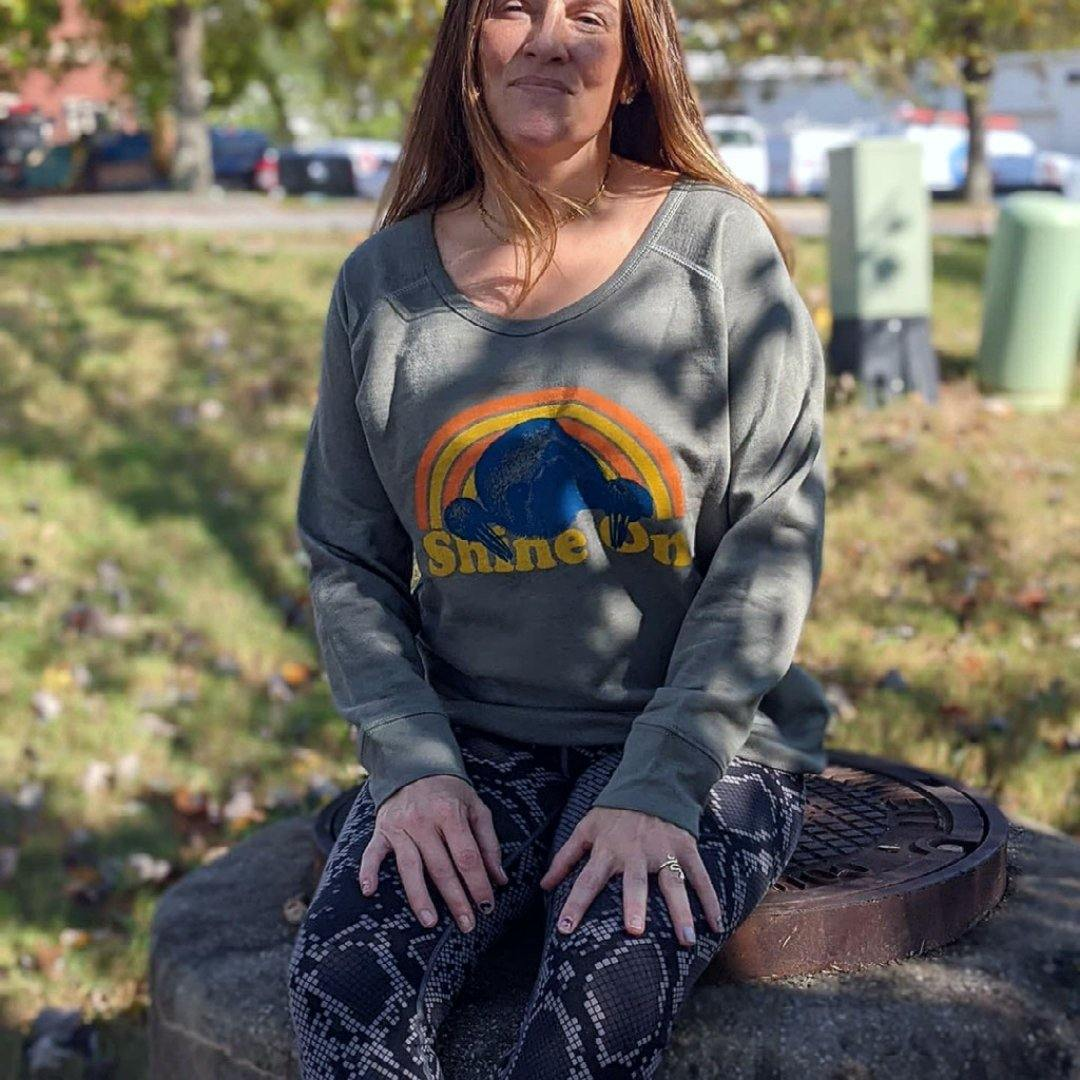 """Shine On"" Sloth - Ladies Fleece Pullover - GreenHive Collective"