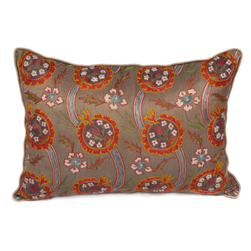 Suzani Pattern Embroidered Silk Pillow