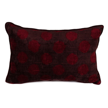 Plumed Floor With Burgundy Points Silk Velvet Pillow