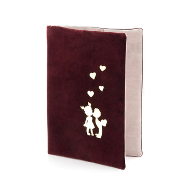 """ I love You"" Sterling Silver Planner / Notebook Case Maroon"