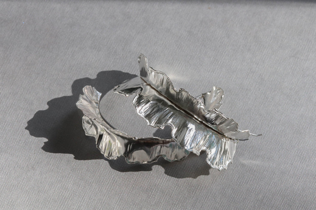 Large Silver Plantain Earrings