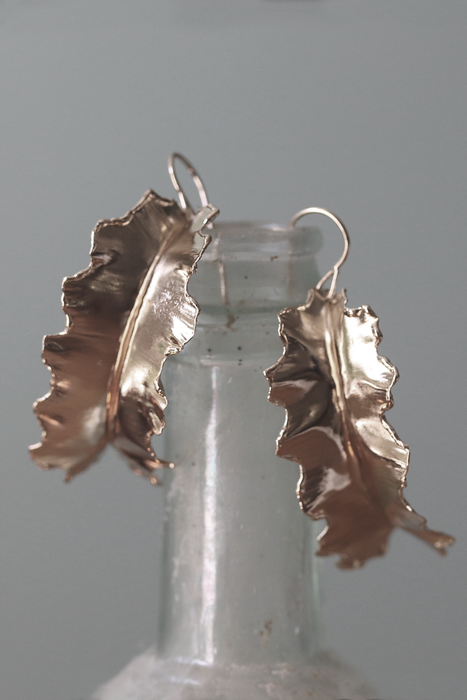 fold formed 14k gold plated leaf earrings