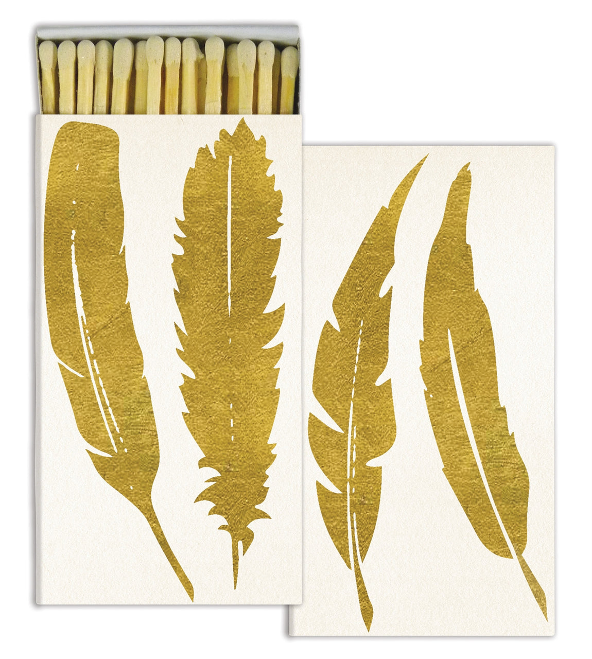 MATCHES - FEATHER - GOLD FOIL HomArts quintessential article of daily use, our signature Match Boxes flaunt unique designs with coordinating match tips. Sweet as a hostess gift, a perfect accompaniment to a candle, and always an eye catching pop of graphic decor. Safety matches, 50 sticks per box.