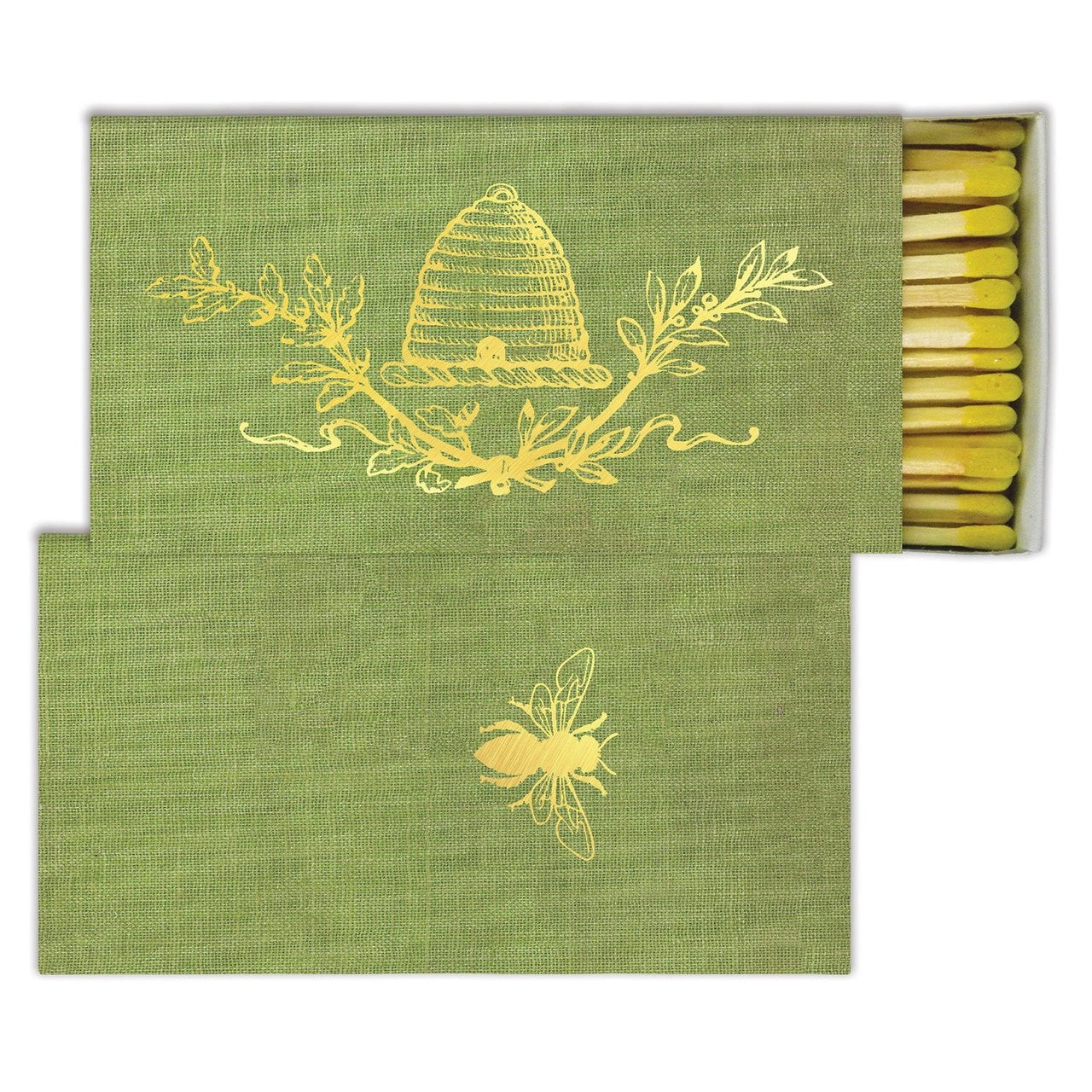 MATCHES - GOLD FOIL BEE CREST HomArts quintessential article of daily use, our signature Match Boxes flaunt unique designs with coordinating match tips. Sweet as a hostess gift, a perfect accompaniment to a candle, and always an eye catching pop of graphic decor. Safety matches, 50 sticks per box.