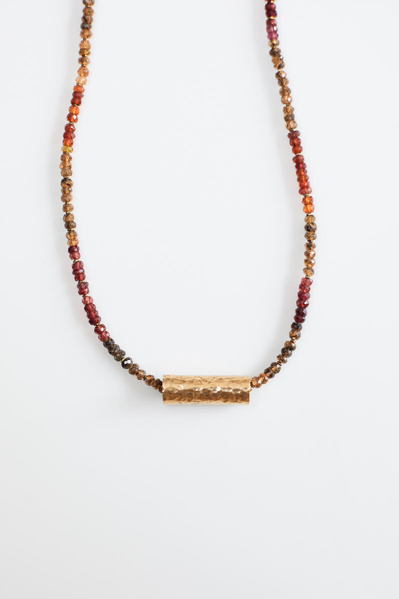 Imani Garnet Necklace with Brass Beads