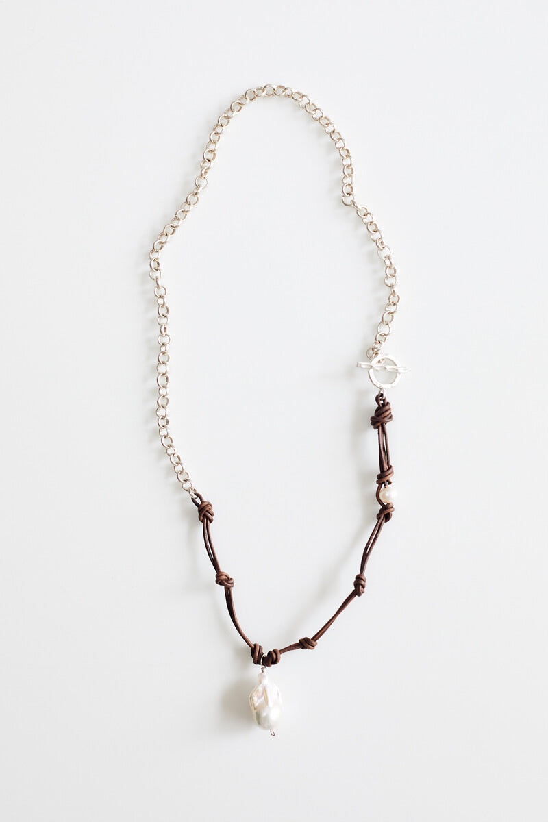 Nima Silver and Leather Necklace with Baroque Pearl