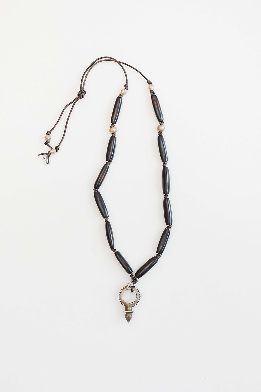 "African bone, beads on leather with vintage Zinder cross from Morroco and Herkimer ""diamond"" (pure energy)  Length: 30"""
