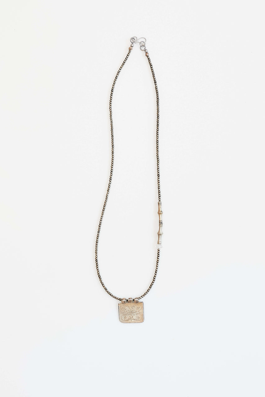 "Faceted pyrite (confidence and creativity), antique Indian amulet and Tuareg beads with Herkimer ""diamond"" (pure energy)  Length 26"""