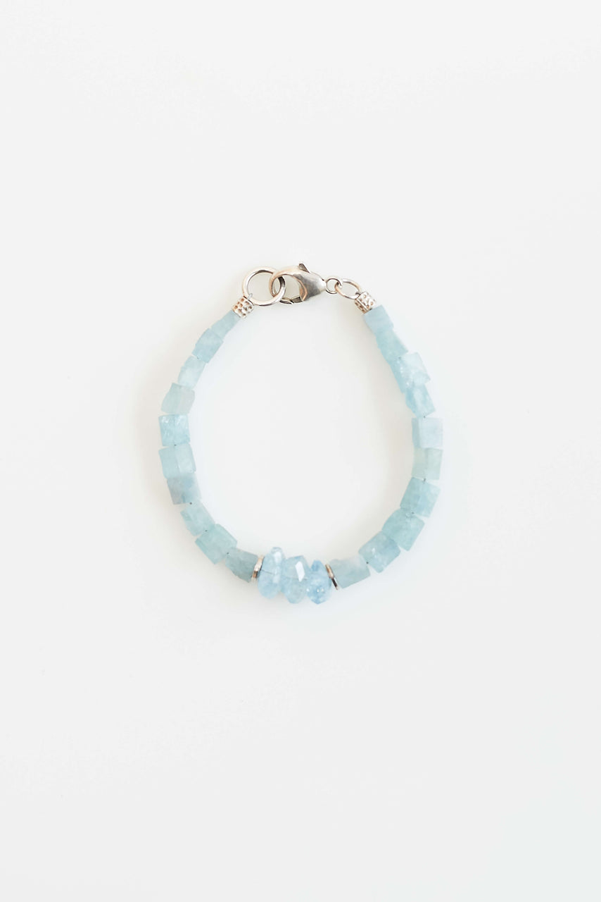 Apatite nuggets (inner strength) with faceted aquamarine (calming) and sterling silver.  Length: 7""