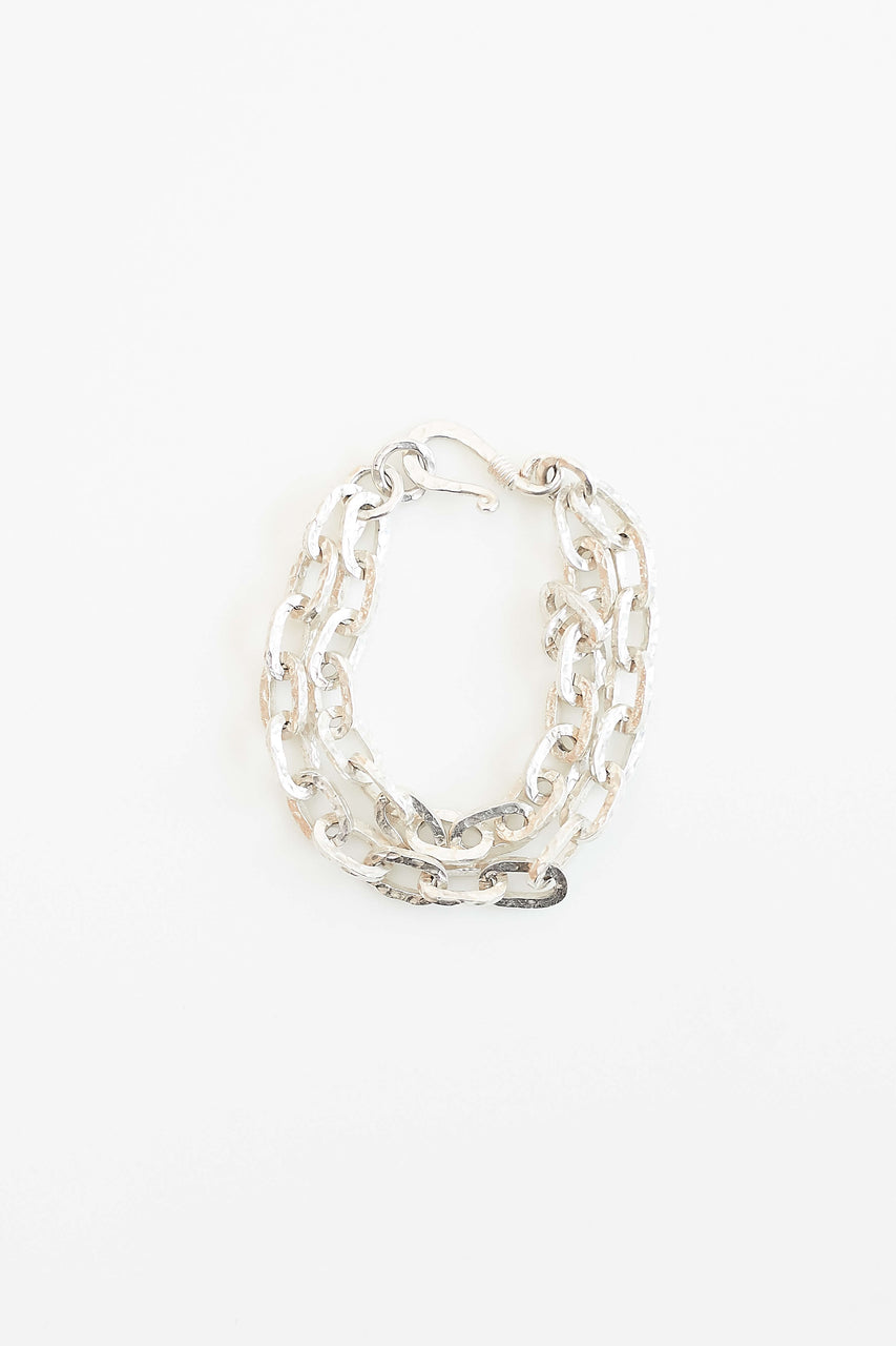 "Lawa Tribe handcrafted hammered double chain and clasp. Available in Fine Silver and Brass.  Length: 7.5"" (please contact us if you need a different length)"