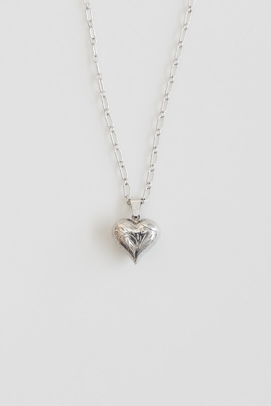 Vintage Silver Puffy Heart Necklace