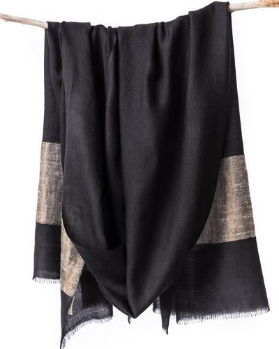 Black Heirloom Cashmere Scarf