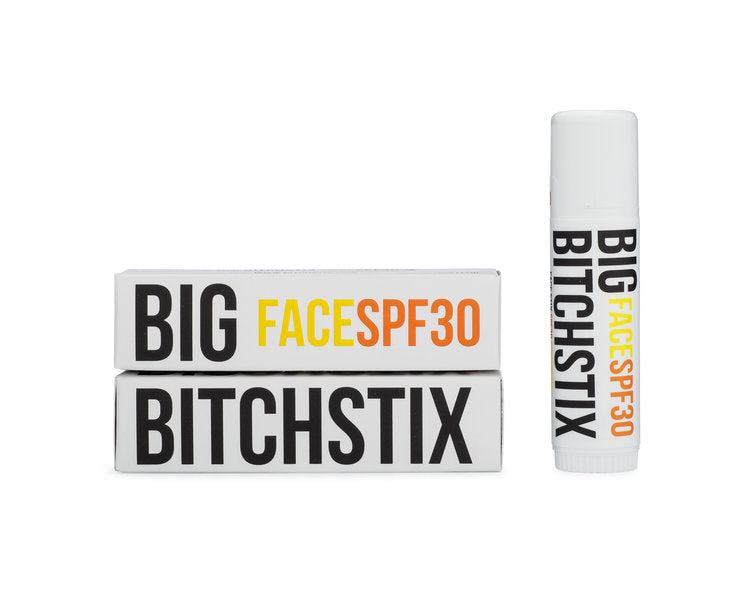 Our BIG BITCHSTIX FACE SPF 30  Base Made with Organic Ingredients  Contains Aromatherapy Grade Essential Oils  Non GMO  Palm Oil Free  Petroleum Free  Cruelty Free Product  Made in the USA  SPF Blend: 7.5% Octinoxate, 5% Octisalate, 4%Oxeybenzone 1% Avobenzone.  Net Wt .56oz (17g)