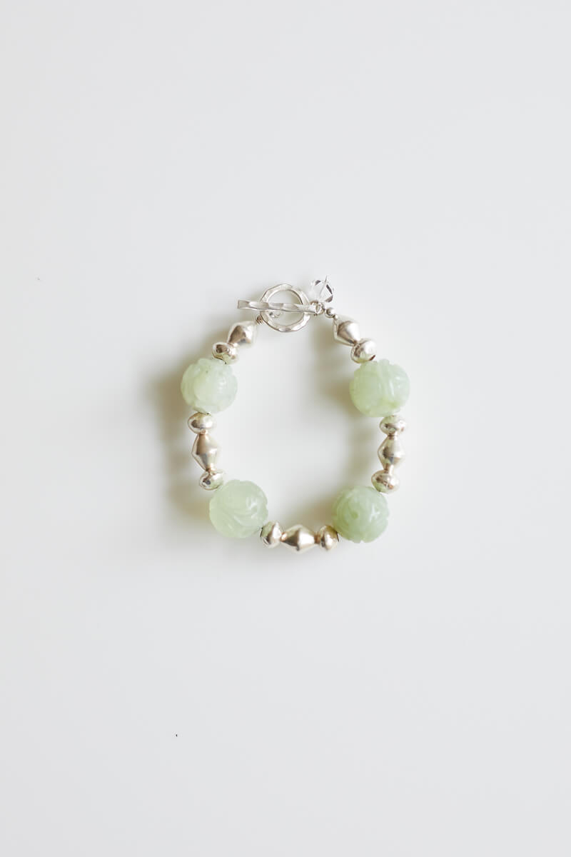 Kennedy Carved Jade and Silver Beaded Bracelet
