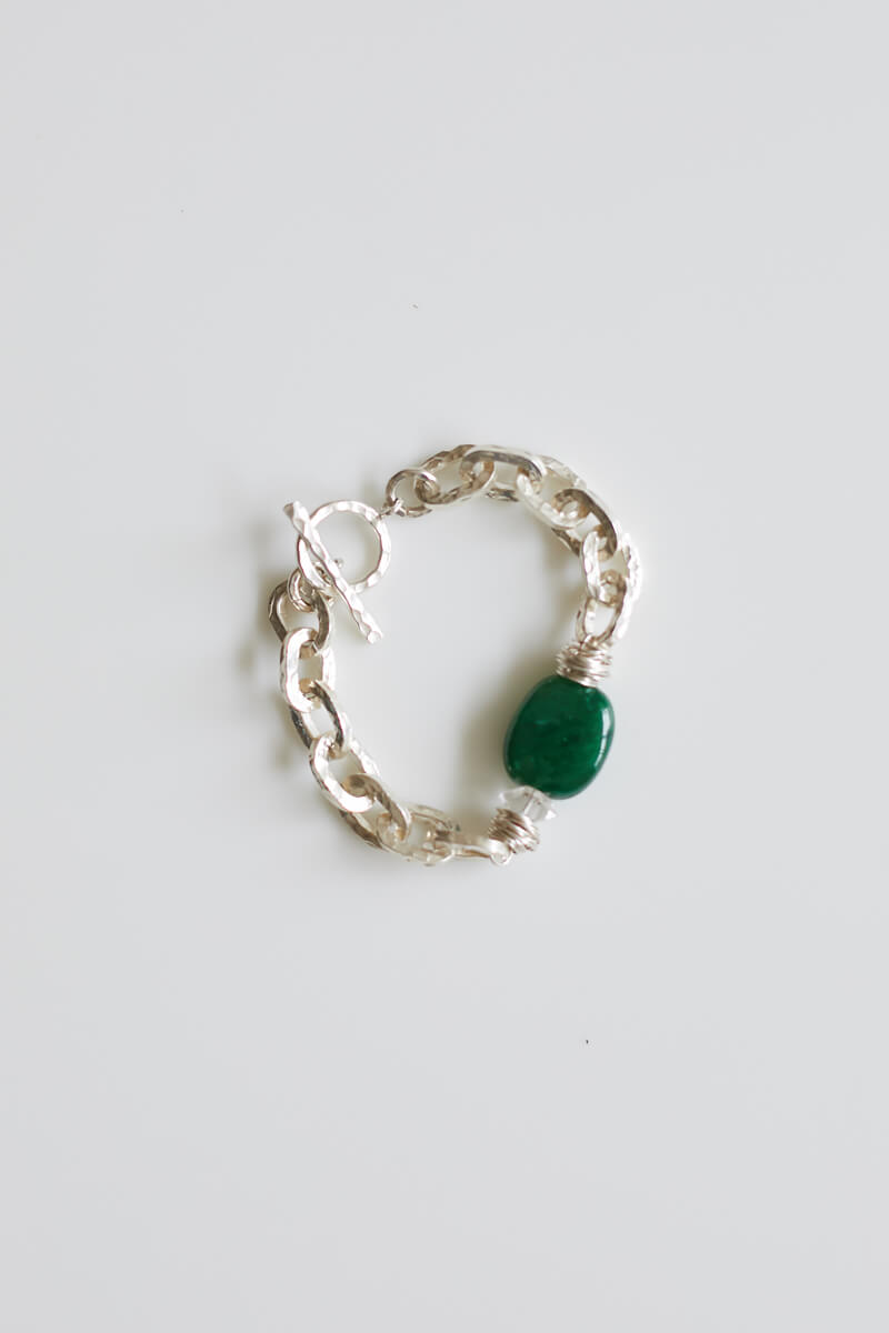 Philomena Emerald and Silver Bracelet