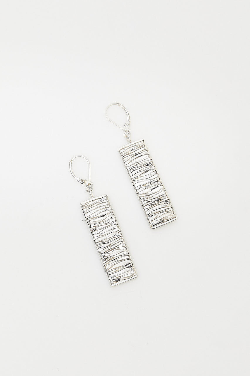 "Wire-wrapped fine silver pendant earrings handcrafted by Lawa silversmiths in rural Northern Thailand.  Available in 2 lengths: 2"" or 2.75"""