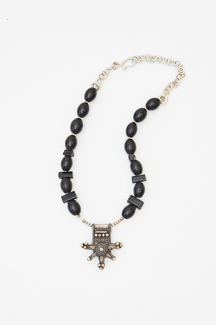 "Vintage Moroccan cross with black tourmaline (protect), African glass, silver beads and chain with Herkimer"" diamond""  Length: up to 18"" long"