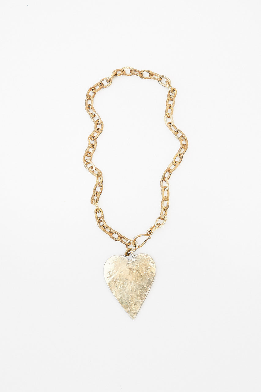 Lawa Tribe handcrafted hammered chain, clasp and Heart Pendant.  Available in either Fine Silver or Brass.
