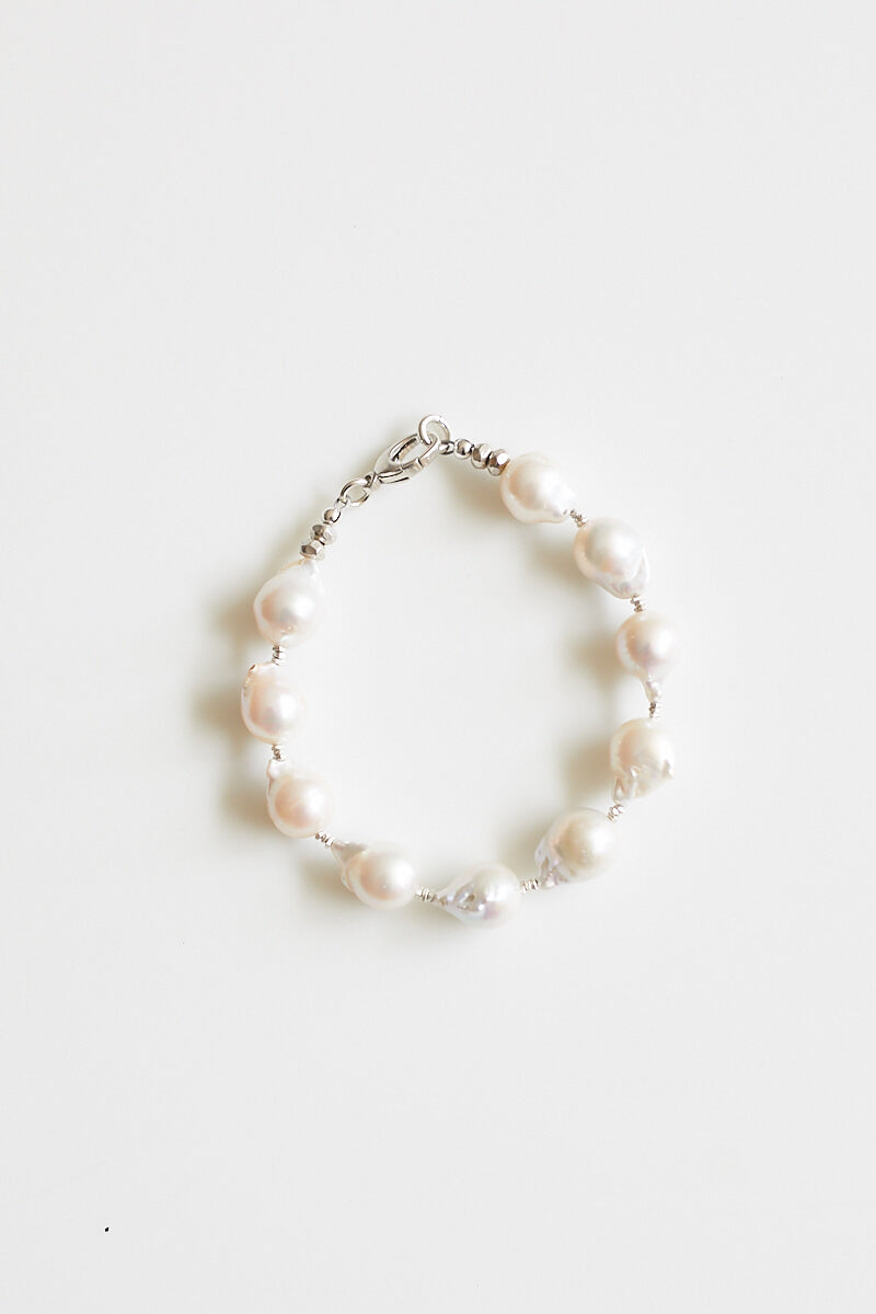 Remy Silver and Baroque Pearl Bracelet