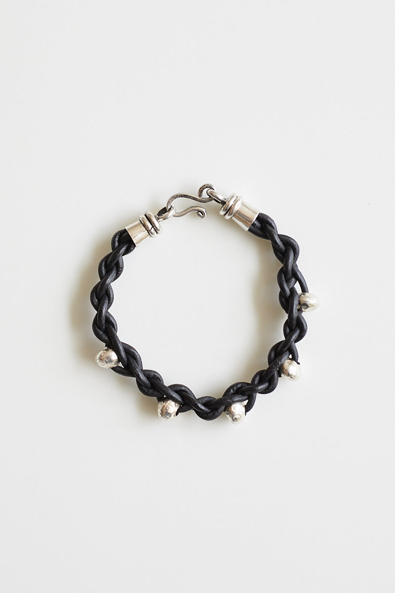 Charlie Leather and Silver Bead Bracelet