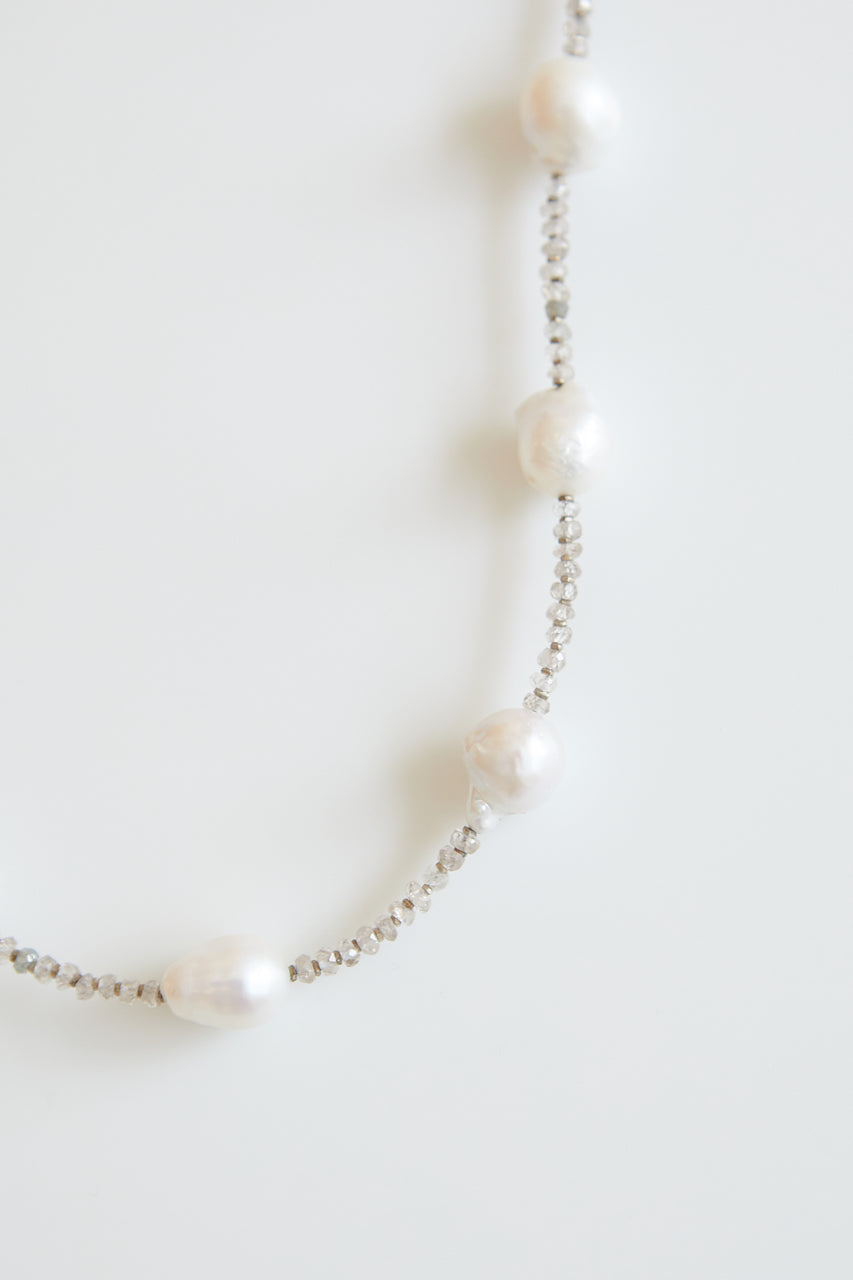 Audrey Long Pearl and Zircon Necklace