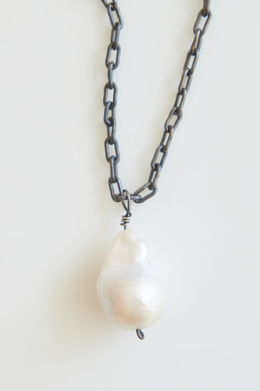 Avery Silver and Baroque Pearl Necklace