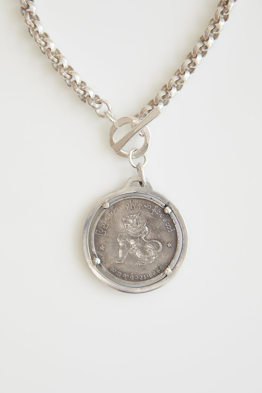 Courage Burmese Coin Silver Necklace