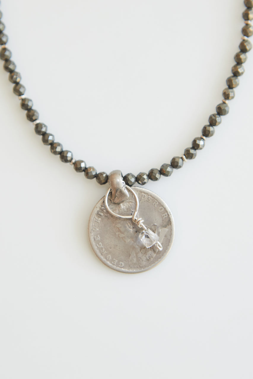 Claire Pyrite Necklace with Antique Coin