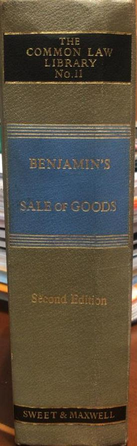 BENJAMIN'S SALE OF GOODS (2ED) 1981 A.G GUEST
