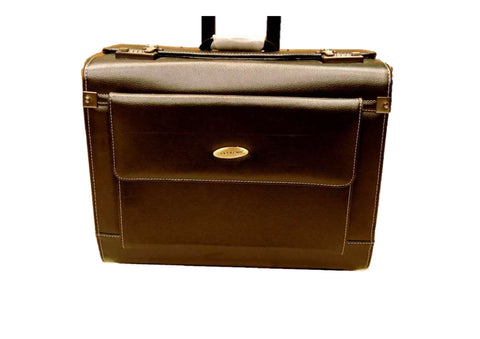 PARTIAL LEATHER TROLLEY BAG (No Warranty)