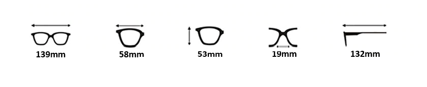 Monique Sunglasses Dimensions