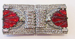 Vintage Incredible 1930s Art Deco Rhinestone Belt Buckle