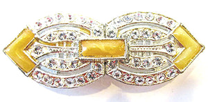 AMNCC Vintage Jewelry 1930s Art Deco Bakelite and Diamante Belt Buckle - Front