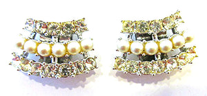 Sarah Coventry 1950s Vintage Jewelry Diamante and Pearl Shoe Clips - Front