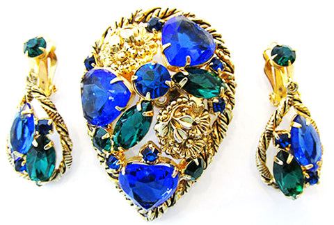 Vintage Mid Century Striking Sapphire and Emerald Pin and Earrings Set