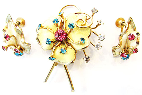 1950s Vintage Jewelry Mid-Century Enamel and Diamante Floral Set - Front