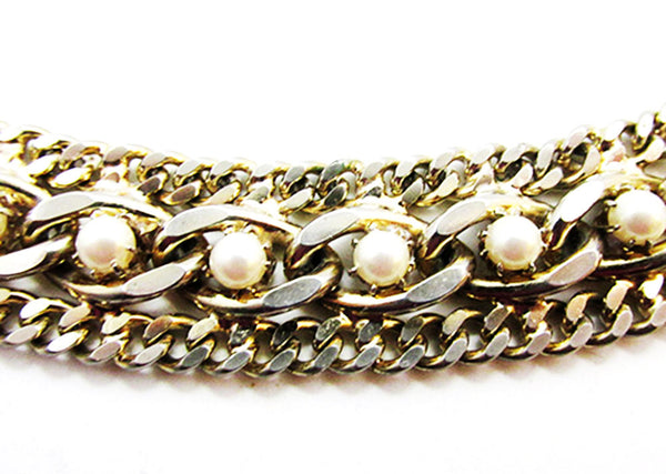Vintage 1950s Mid-Century Exceptional Pearl Chain Link Bracelet - Close Up