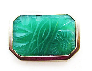 Vintage 1950s Striking Mid-Century Sterling and Jade Geometric Pin
