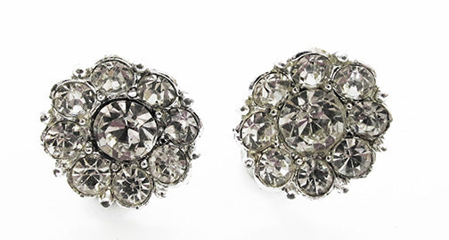 Vintage 1950s Mid-Century Flawless Dainty Button Style Floral Earrings
