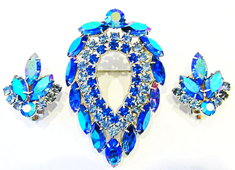 Sarah Coventry Vintage Iconic Retro Blue Lagoon Pin and Earrings Set