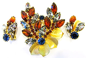 Weiss Vintage 1950s Dramatic Mid Century Floral Pin and Earrings Set