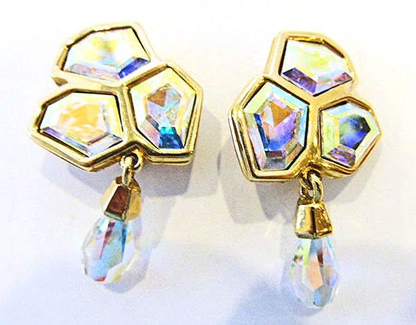 Swarovski Vintage 1970s Avant-Garde Geometric Pin and Earrings Set