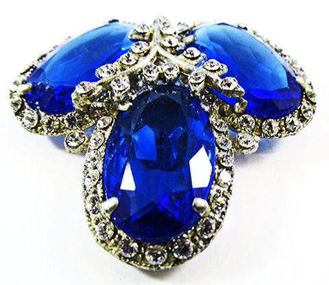 Vintage Art Deco Gorgeous 1930s Retro Sapphire Blue Dress Clip