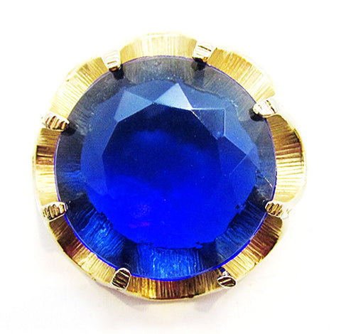 Vintage 1950s Mid-Century Bold Gold and Sapphire Diamante Sash Pin - Front