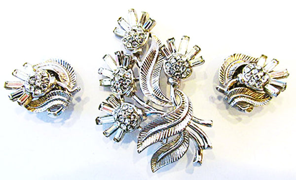 Crown Trifari 1950s Stunning Book Piece Thistle Pin and Earrings Set