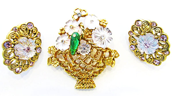 Vintage Jewelry Adorable 1960s Diamante Floral Pin and Earrings Set - Front