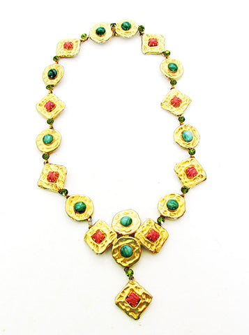 Vogue Vintage 1960s Avant-Garde Jade and Coral Diamante Necklace - Front